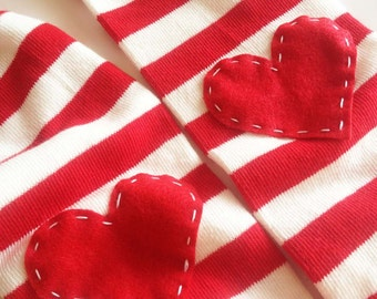 Striped Heart Baby Leg Warmers: Red and White with red heart applique