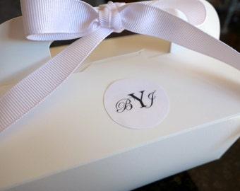 Personalized Monogram (85) GABLE CAKE BOX Initials, Food Catering, To Go, Favor, w/ Handle & Ribbon Black, White, Wedding