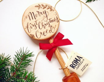 Personalized Baby's First Christmas Gift | Keepsake Wooden Rattle | Heirloom Baby Stocking Stuffer | Natural Wood Teether