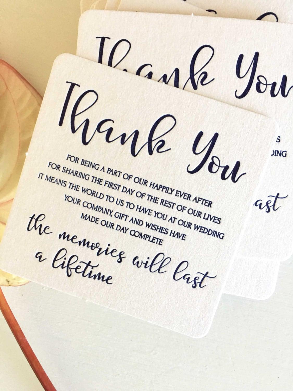 Wedding Thank You Coasters Letterpress Wedding Coasters