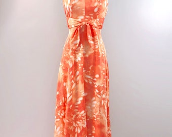 Tori Richard Vintage 70s Dress 1970s Orange Jersey Halter Maxi 32 bust small