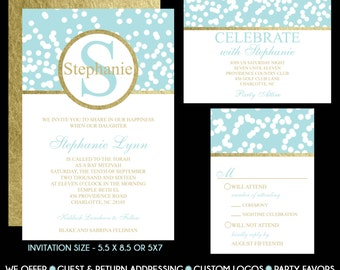 Bat Mitzvah Invitation Teal Blue Confetti Gold Foil Pattern USE for ANY EVENT Rsvp Reply Card Save the Date Thank You Note Custom Invitation