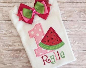Watermelon shirt, pink red watermelon tutu, watermelon birthday, pink red green watermelon fabric tutu, watermelon shirt, watermelon bow