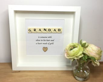 Scrabble wall art, Scrabble picture , Birthday gift, Fathers Day gift,  Grampy, Grandad, Grandpa ,Gramps