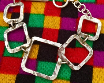 Vintage Sterling Silver , Hammered Squares Bracelet.7 1/2 Inches Long and Looks Great On.