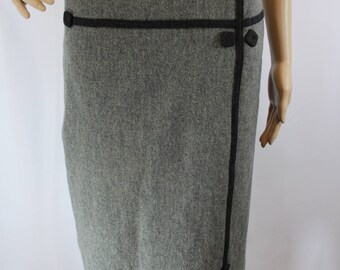 Vintage classic style grey wool pencil skirt with black accents and pockets modern size XS 1950s 50s