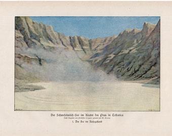 1900 VOLCANO crater original antique lithograph print - volcanis ash no.1