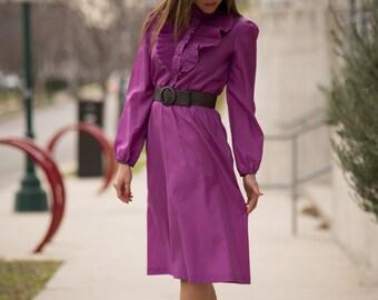 Vintage Grape Ruffled Yoke Dress (Size Small)