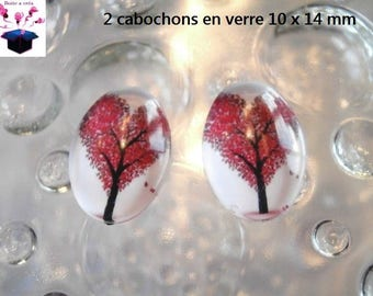 2 cabochons glass 10 x 14 mm for loop or ring tree of life