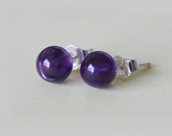 4mm, 6mm Natural Amethyst Earring Studs- Purple earring studs- February birthday gift - Sterling silver- Purple studs - Birthstone gift