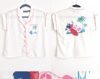 Vintage 80s 90s Embroidered Top // White Blouse, Palm Trees, Peacock, 1980s Shirt, 1990s, Women Size Medium