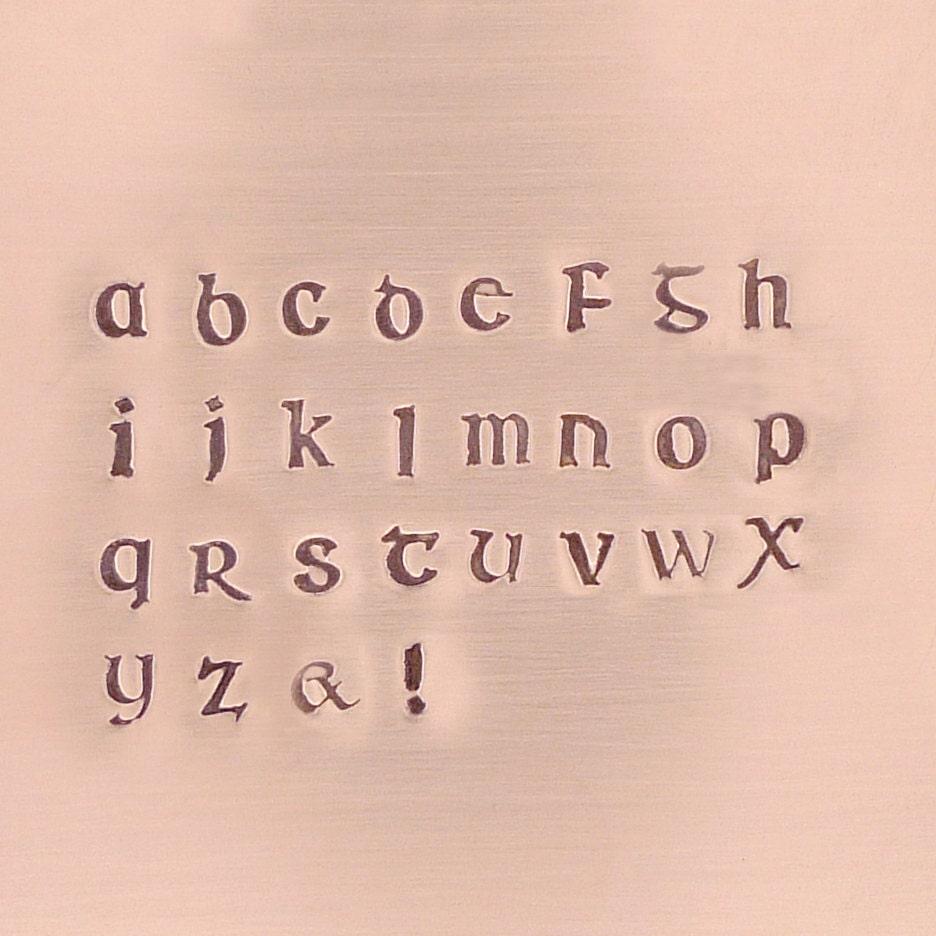 Corvus Irish Font Alphabet Stamp Set Lowercase 3mm for stamped