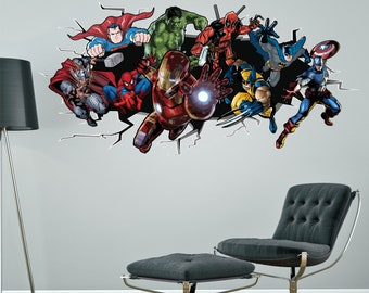 SUPERHEROES Breaking Smashing Through Wall Sticker Boys Bedroom Decal  Spiderman Hulk Batman Captain America Deadpool Ironman