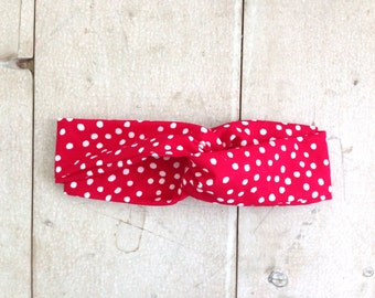 Red and White Polka Dot Turban Wrap Headband