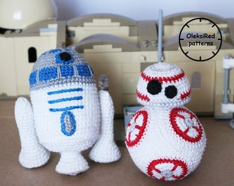 Star Wars CROCHET PATTERNS characters - BB8 and R2D2 (amigurumi patterns). 2 in 1!