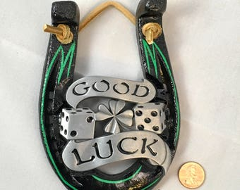 Good Luck Gift, Shamrock and Dice, Good Luck Charm, Equine Decor Wall Hanging, Small Gift, Graduate Gift, Housewarming, Home Decor Horseshoe