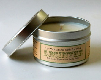 ABSINTHE scented - Hand Poured Candle / Eco Friendly Soy Candle / Home Fragrance