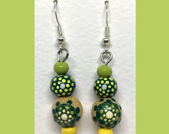 Rondouille Art yellow/green earrings