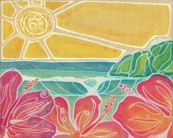 Canvas Print Bright Hibiscus Flowers Waves Island Surf Art Girls Nursery Wall Decor by Lauren Tannehill ART
