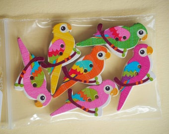 6 buttons wood Parrot bird 35x17mm 5 varied and different colors, sewing, scrapbooking, deco, custumisation...