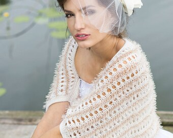 Ivory Shrug Wedding Bolero Bridal Shrug Occasions Hand Knitted Shrug