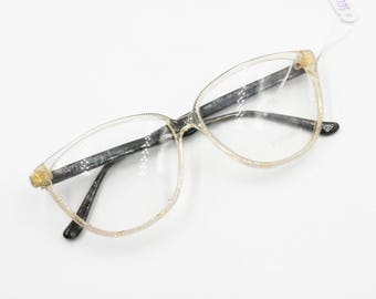 Von Furstenberg lunettes womens eyeglasses frame // Clear acetate with fabric tissue & Golden inserts // New Old Stock 1980s