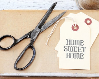 Home Sweet Home Tags, set of 10, paper supplies, manila gift tags, hand stamped tags, gift tags, hand stamped, paper supplies, house warming