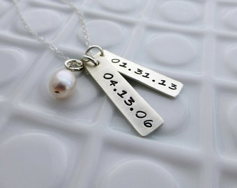 Personalized Date Necklace - Custom Hand Stamped Sterling Necklace - Gift for Her - Mother Necklace - Birthdate Necklace