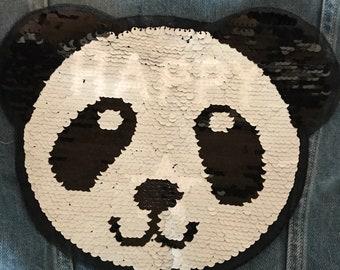 Large reversible sequin panda fusible