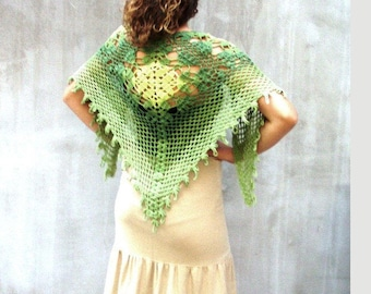 Greenery scarf, crochet scarf wrap, rustic lace scarf, fashion scarf, ombre scarf, triangular scarf, rustic wedding, feminine, cottage chic