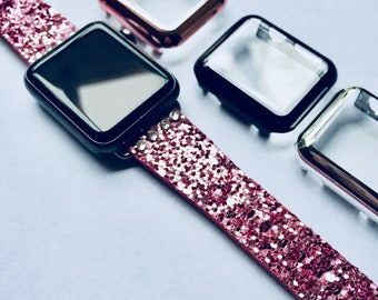 Glitter with Free Swarovski Crystals Apple Watch Band 38mm 42mm PINK (Also available in Silver, Gold, Black, Blue) Womens Bling iWatch 38 42