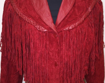 Red Vintage Suede Fringe Jacket