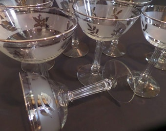 Vintage Mid Century Libby Coupe Glasses Set of 3