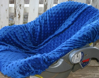 royal blue minky infant car seat  cover only