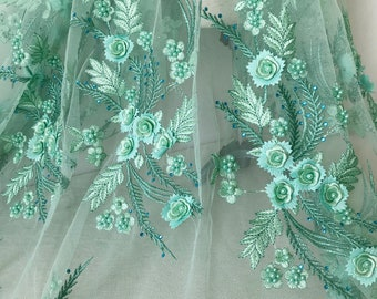 Mint green beaded fabric with 3d rose flower, beaded applique lace for girl dress, bridesmaid headwear, wedding accessories
