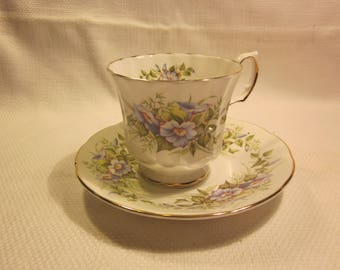 Elizabethan teacup and saucer, morning glories, made in  England