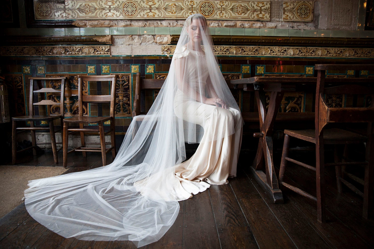 Cathedral Drop Veil And Wedding Headpiece Vintage Style