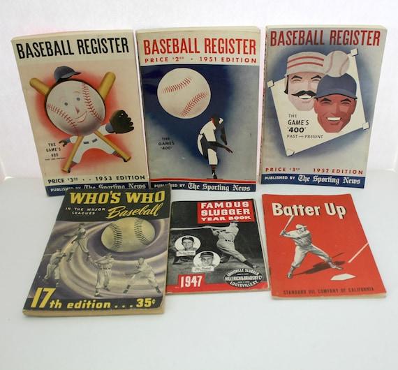 Lot of Vintage 1940s 1950s Baseball Publications Digests   Baseball Register   Who's Who   Famous Slugger Year Book   Batter Up Standard Oil