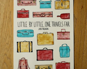 Luggage Art Print - Travel Illustration - Hand Lettering - Home Decor Wall Art - A3 Print - Home Decor Print - Poster Print - Tolkien Quote