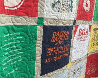 T-Shirt Quilts Traditional with cornerstones 9 to 36 tees DEPOSIT- Upcycled TShirt Quilts- Tee Shirt Quilts -YOU Choose FABRICS