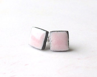 SALE! Small Pink Earrings. Petite Earrings. Squares. Black Porcelain Clay. Petal Pink. Black & Pink. Post Earrings. Surgical Steel. Simple