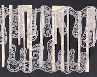 Silver and Black wall art, mixed media wall art, collage wall art, black and silver art, mixed media art, collage art, found paper art, drip
