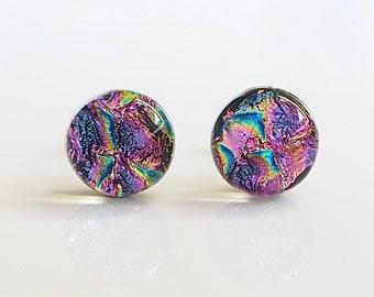 Pink Dichroic Stud Earrings - Pink Glass Studs - Pink Purple Turquoise Earrings - Glass Stud Earrings - Handmade stud Earrings - ES 719