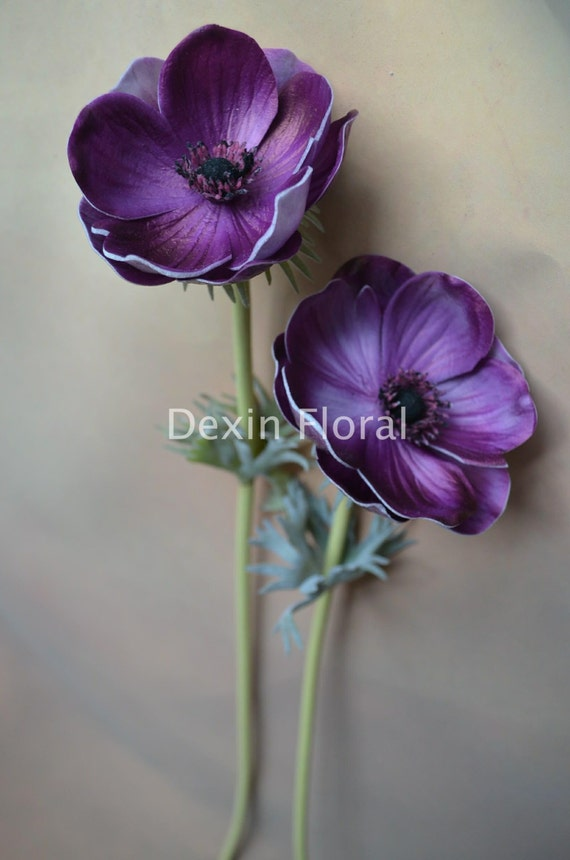 Natural real touch purple artificial silk anemones single stem mightylinksfo