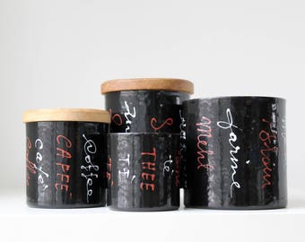 Mod Kitchen Canisters, Enamel Canister Set, Vallenti Italy, Typography, Black Enamelware, Mod Nesting Canisters, MCM Vintage Modern