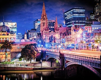 Melbourne Photography Princes Bridge Flinders Street Wall Art Prints City Wall Decor Wedding Gift for Her Travel Art FREE POST AUSTRALIA
