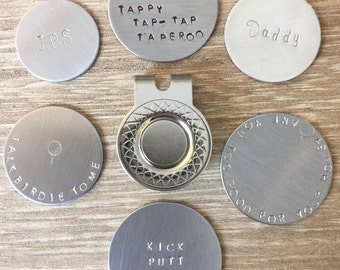 Personalized Ball Markers Hand Stamped Hat Clips, Magnetic and Non Magnetic
