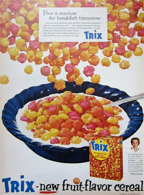1947 trix cereal vintage advertisement kitchen wall art dining