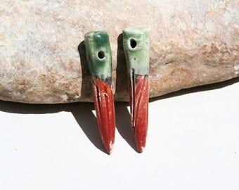 2 tribal tear drops, handmade supply, ceramic charms