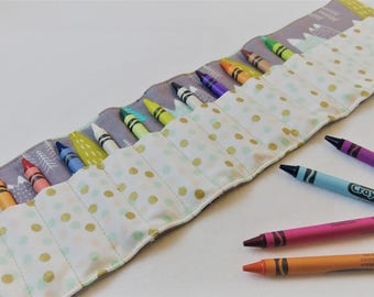Crayon Roll in Mountains and Polka Dots, Holds 16 Crayons